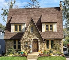 """@theamericanhome on Instagram: """"Cute Storybook Style English Cottage originally built for Theodore and Bertha Marckoff in 1928. Theodore worked as a steel purchasing…"""" Stone Cottages, Stone Houses, Cottage Style Homes, Sims House, Home Reno, Victorian Homes, Old Houses, Exterior Design, Building A House"""