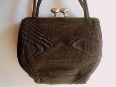 art+deco+era+handbags | ... Vintage Corde Art Deco Era Petite Chocolate Brown Corde Handbag 1930s