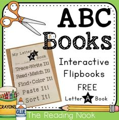 """Interactive Alphabet Books: Alphabet Flip Book """"A"""" is just what your students need to practice letter identification, writing, sounds, and categorizing in a hands-on way! Each book is 6 pages long and follows the same pattern. Each page has 2 books on it to save on printing."""