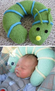 Free Knitting Pattern for Baby's Buddy Inchworm Pillow - Soft cuddly cushion cradles baby's head and doubles as toy or neck pillow for older child. Worked flat and shaped with short rows. Length after stuffing: about 29 inches / 73.5 cm. Ravelrers said they completed this in a day. Designed by Helen Ralph. Pictured projects by jennyr and jmaines.