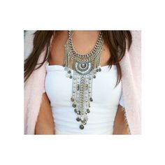 Boho Bohemian Statement Necklace (¥3,545) ❤ liked on Polyvore featuring jewelry, necklaces, boho style jewelry, bib statement necklace, statement necklace, boho chic jewelry and boho necklace