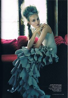 """""""Lady of the House,"""" featuring Nimue Smit (wearing an Azzedine Alaïa haute couture gown), photographed by Victor Demarchelier for Harper's Bazaar Australia (December My baby looks stunning in this editorial! I'm so happy right now! Blue Fashion, Look Fashion, Fashion Pics, Fashion Fotografie, Victor Demarchelier, Fairytale Fashion, Azzedine Alaia, Haute Couture Dresses, Textiles"""