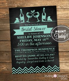 Chalkboard Bridal Shower Invitation, Wine Party, Engagement, Chalkboard, Rustic, Mint Green, Aqua, Printable(Custom Order, INSTANT DOWNLOAD) by InvitingDesignStudio on Etsy