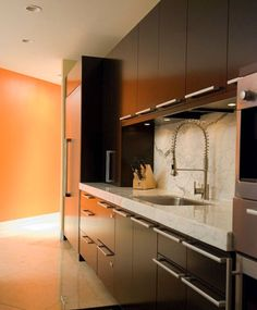 Pull-Out Faucet Design: Functionality and Beauty: Contemporary Pull Out Faucet On Kitchen Set With Marble Countertop