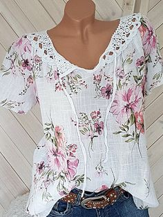 Round Neck Lace Up Patchwork Lace Print Blouses Wholesale Clothing Online Store. We Offer Top Good Quality Cheap Clothes For Women And Men Clothing Wholesaler, Get Affordable Clothing At Worldwide. Cheap Womens Tops, Lace Print, Blouse Online, Plus Size Blouses, Short Sleeve Blouse, Short Sleeves, Long Sleeve, Printed Blouse, Floral Blouse