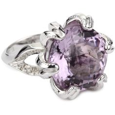 Ellen Himic Rosette Silver, Purple Amethyst and Diamond Ring ($490) found on Polyvore