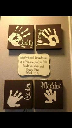 picture wall ideas of The BEST Hand and Footprint Art Ideas! Kids crafts with homemade cards, canvas, art, paintings, keepsakes using hand and foot prints! Kids Crafts, Family Crafts, Baby Crafts, Crafts To Do, Home Crafts, Craft Projects, Kids Diy, Teen Projects, Garden Projects