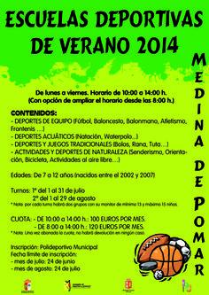 Julio y Agosto Escuelas Deportivas de Verano. Medina de Pomar Niños de 7  a12 años