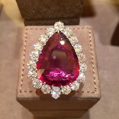 22.50 ct Rubellite Ring set in 18kt Gold and accented by surrounding diamonds,  by Farah Khan Fine Jewellery, Mumbai, India.  |  http://www.farahkhanfinejewellery.com/