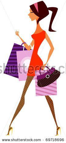 shopping girl - stock vector id 69718696