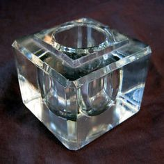 Vintage Clear Glass Cube Inkwell Ink Well Paperweight