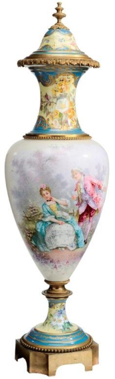Porcelain; Sevres Style, Eboy, Urn & Cover, Couple in Landscape, Bronze Base, 30 inch.