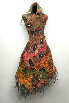"Mixed Media, Michelle Sales, Artist, Article 054, recycled synthetic materials, wood, stones, found objects, wire, hand dyed, heat formed, machine and hand sewn, dimension 22"" x 13"" x 12"""