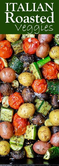 Italian Oven Roasted Vegetables   The Mediterranean Dish. Simple and delicious oven roasted vegetables, the Italian way! Not your average side dish! These veggies will be your new favorite! Comes together in 20 mins or so. See the recipe on TheMediterrane