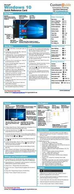 Free Windows 10 Quick Reference Card. http://www.customguide.com/cheat_sheets/windows-10-quick-reference.pdf #ad