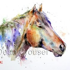 Colorful HORSE Watercolor Print by Dean Crouser por DeanCrouserArt