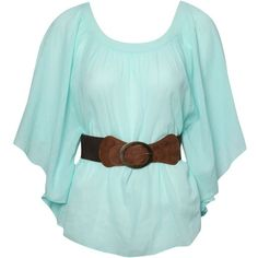 Jane Norman Belted kaftan top ($19) ❤ liked on Polyvore featuring tops, tunics, shirts, blouses, aqua, women, boho tops, green top, boho shirts and belted tunic