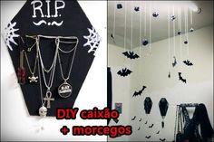DIY - CAIXÃO GANCHO + morcegos Bat Chandelier