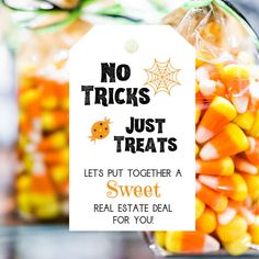 No Tricks Just Treats Real Estate Printable Referral Pop by Tag, Agent Broker Trunk or Treat Marketing Candy, Halloween Realtor Business PDF No Tricks Just Treats Real Estate Printable Referral Pop by Tag, Agent Broker Trunk or Treat Marketi. Real Estate Gifts, Real Estate Quotes, Keller Williams, Lead Generation, Marketing Postcard, House Ideas, Trunk Or Treat, Realtor Gifts, Client Gifts