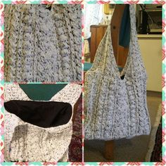 Crocheted handbag with outside pocket for your cellphone