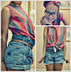 Shirt & Headband: Old t-shirt from my dad's closet. Shorts: Old carpenter shorts from my bro's closet. A lot of cutting and snipping later and I have my first DIY outfit.