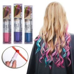 Professional Hair Chalk Pens Hair Chalk Salon Temporary Hair Color Dye... ($16) ❤ liked on Polyvore featuring beauty products, haircare and hair color