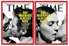 """""""TIME magazine has declared """"Gay Marriage Already Won."""" There are two covers to this weeks news magazine, both of them feature a pair of same-sex couples kis. Time Magazine, Magazine Covers, Francesca Annis, Lgbt Rights, Equal Rights, Civil Rights, Human Rights, Lgbt News, Lesbian Wedding"""