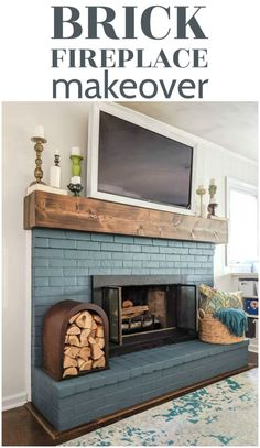 This brick fireplace has been completely transformed with gorgeous blue paint, an inexpensive DIY mantel, and thrifted accessories. With a full step by step tutorial for painting your own brick fireplace and making that chunky wood mantel.