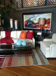Having bold complementary colors throughout your interior design, can make your room feel relaxed and alive.