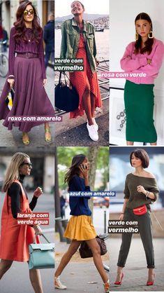 ideias para fazer combinações com cores complementares, contrastantes, que ficam opostas no círculo cromático: roxo com amarelo, verde com vermelho, verde e rosa, laranja com azul, amarelo com azul! Fashion Colours, Love Fashion, Fashion Looks, Fashion Design, Womens Fashion, Hijab Fashion, Fashion Outfits, Preppy Style, My Style