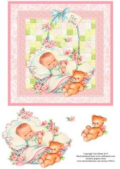 New Baby Girl Patchwork Topper Decoupage on Craftsuprint - Add To Basket!