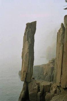 Balancing Rock, Nova Scotia, Canada .