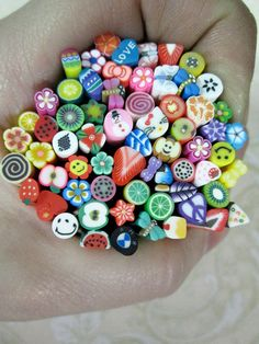DESTASH SALE, assorted polymer clay canes 20pcs for miniature foods, sweets, decoden and nail art supplies. $5.00, via Etsy.