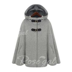Fashion Hooded Solid Color Covered Button Embellished Cape-Style Women's Coat