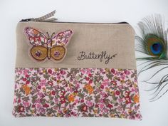 Handmade Cosmetic Makeup Bag Purse 3D Butterfly Applique Embroidered design, Ditsy print floral cotton and biscuit linen, Fully Lined