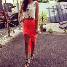asymmetrical skirt + crop top <3 <3 <3