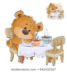 Buy Illustration of a Brown Teddy Bear Sitting by vectorpocket on GraphicRiver. Vector illustration of a brown teddy bear sitting at a table with two cups and missing someone. Tatty Teddy, Brown Teddy Bear, My Teddy Bear, Pictures To Draw, Cute Pictures, Urso Bear, Teddy Bear Pictures, Cartoon Elephant, Boyds Bears