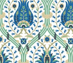 If I went with duck egg blue walls, this would harmonize nicely, no?  Serpentine 774 fabric by muhlenkott on Spoonflower - custom fabric