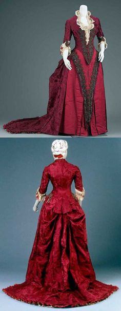 Reception or dinner dress, Charles Frederick Worth, ca. 1883. Silk damask, satin, and plain weave (taffeta)  3/16/16  2