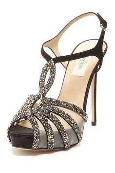"""Valentino """"Beaded Mesh Sandal"""" in Black."""