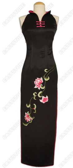 Silk Embroidery Lotus Cheongsam
