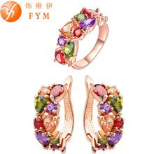 US $3.56     Buy Jewelry At Wholesale Prices!     FREE Shipping Worldwide     Buy one here---> http://jewelry-steals.com/products/fym-mona-lisa-colorful-crystal-ring-earrings-rose-gold-color-jewelry-sets-for-women-multicolor-jewelry-set-wholesale/    #necklaces