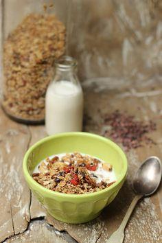 Cacao nib & birch sugar granola Cacao Nibs, Recipe Images, Cooking Light, Granola, Sugar Free, Birch, Oatmeal, Breakfast, Muesli