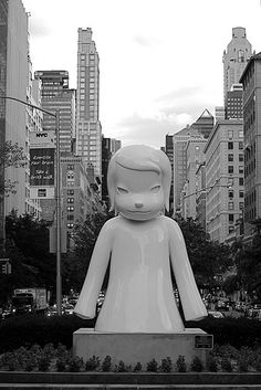 """White Ghost"" by Japanese pop artist Yoshitomo Nara Japanese Pop Art, Japanese Artists, Japanese Toys, Yoshitomo Nara, Draw On Photos, Cool Artwork, Amazing Artwork, Outdoor Art, Elements Of Art"