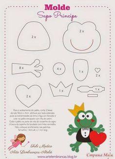Frog prince pattern for appliqué  - felt
