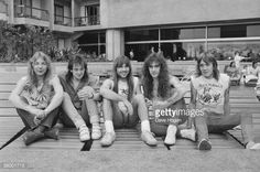 British heavy metal group Iron Maiden, circa Left to right: Dave Murray, Adrian Smith, Bruce Dickinson, Steve Harris and Nicko McBrain by Dave Hogan. Bruce Dickinson, Iron Maiden Band, Dave Murray, Rock And Roll Bands, Rock N Roll, Metal Evolution, Music Pics, Power Metal, My Escape