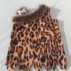 Childs halloween outfit, chinchilla knitted trim, felt bone accessory, cavegirl  halloween costume, animal print, fun outfit. play, dress up...