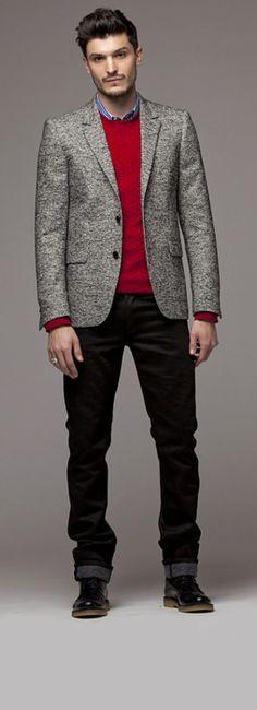 collared shirt sweater and blazer