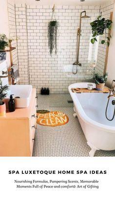 Modern Bathroom Tile, Boho Bathroom, Bathroom Inspo, Bathroom Interior Design, Bathroom Inspiration, Small Bathroom, Clawfoot Tub Bathroom, Modern Vintage Bathroom, Eclectic Bathroom
