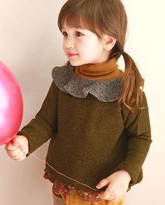 amberアンバー アイネコトップ(カーキ) - 韓国子供服amber,annikaのtsubomiかわいい輸入服のセレクトショップ